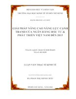 Giải pháp nâng cao năng lực cạnh tranh của Ngân hàng Đầu tư và Phát triển Việt Nam đến 2015  Luận văn thạc sĩ