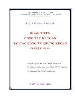 Hoàn thiện công tác kế toán tại các Công ty chứng khoán ở Việt Nam  Luận văn thạc sĩ kinh tế