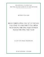 Hoàn thiện công tác xử lý nợ xấu tại công ty cho thuê tài chính ngân hàng thương mại cổ phần ngoại thương Việt Nam