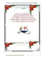 TUYỂN TẬP ĐỀ, ĐÁP ÁN  KHẢO SÁT HỌC KÌ II LỚP 4 CÁC MÔN NĂM HỌC 20142015. THEO CHUẨN KIẾN THỨC KĨ NĂNG  VÀ THEO THÔNG TƯ 302014