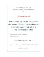 Hoàn thiện hệ thống kiểm soát nội bộ đối với hoạt động tín dụng tại Ngân hàng TMCP Đông Á chi nhánh Bình Định