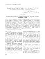 KẾT QUẢ NGHIÊN CỨU ẢNH HƯỞNG CỦA PHÂN BÓN VÀ THU HÁI ĐỂ CHẾ BIẾN CHÈ ÔLONG TỪ CÁC GIỐNG CHÈ MỚI