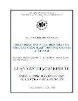 Hoạt động sáp nhập, hợp nhất và mua lại ngân hàng thương mại tại Việt Nam  Luận văn thạc s