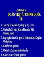 Bài giảng Quản trị kinh doanh quốc tế - Chương 12 Quản trị tài chính quốc tế