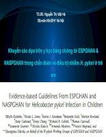 khuyến cáo dựa trên y học bằng chứng từ ESPGHAN và NASPGHAN trong chuẩn đoán và điều trị nhiễm hpylori ở trẻ em