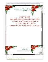 CHUYÊN ĐỀ   ĐỔI MỚI PHƯƠNG PHÁP DẠY HỌC   GIÁO ÁN MÔN TIN HỌC LỚP 4  TỪ TUẦN 9 ĐẾN TUẦN 11  THEO CHUẨN KIẾN THỨC KĨ NĂNG.