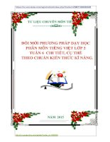 ĐỔI MỚI PHƯƠNG PHÁP DẠY HỌC  PHÂN MÔN TIẾNG VIỆT LỚP 2  TUẦN 6  CHI TIẾT, CỤ THỂ  THEO CHUẨN KIẾN THỨC KĨ NĂNG.