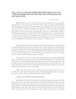 KHAI THÁC TÀI TRỢ PHI CHÍNH PHỦ NƯỚC NGOÀI CHO PHÁT TRIỂN SỰ NGHIỆP VĂN HOÁ GIÁO DỤC CỦA TRƯỜNG ĐẠI HỌC VĂN HOÁ HÀ NỘI