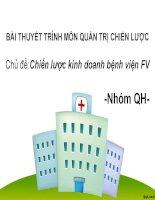 BÀI THUYẾT TRÌNH MÔN QUẢN TRỊ CHIẾN LƯỢC Chủ đềChiến lược kinh doanh bệnh viện FV