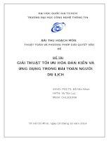 Tiểu luận môn Thuật Toán và Phương Pháp Giải Quyết Vấn Đề GIẢI THUẬT TỐI ƯU HÓA ĐÀN KIẾN VÀ ỨNG DỤNG TRONG BÀI TOÁN NGƯỜI DU LỊCH