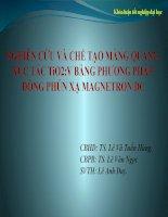 NGHIÊN CỨU VÀ CHẾ TẠO MÀNG QUANG XÚC TÁC TiO2 PHA TẠP V BẰNG PHƯƠNG PHÁP ĐỒNG PHÚN XẠ MAGNETRON DC