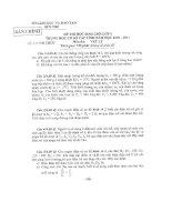Đề  thi HSG Lý 9 cấp Tỉnh 2010-2011