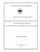Determinants of customer satisfaction on mortgate service a case study of anz bank Vietnam limited  Luận văn thạc sĩ