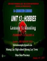 Slide english 11 unit 13 hobbies _reading _B.K Toan