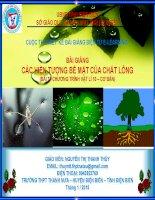 Slide vật lý lớp 10 bài  37 các hiện tượng bề mặt của chất lỏng _N.T.T Thủy