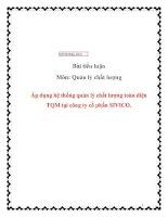 Áp dụng hệ thống quản lý chất lượng toàn diện TQM