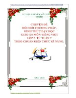 CHUYÊN ĐỀ   ĐỔI MỚI PHƯƠNG PHÁP,  HÌNH THỨC DẠY HỌC  GIÁO ÁN MÔN TIẾNG VIỆT  LỚP 5  TỪ TUẦN 7 THEO CHUẨN KIẾN THỨC KĨ NĂNG.