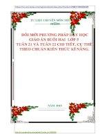 ĐỔI MỚI PHƯƠNG PHÁP DẠY HỌC GIÁO ÁN BUỔI HAI  LỚP 5  TUẦN 21 VÀ TUẦN 22 CHI TIÊT, CỤ THỂ THEO CHUẨN KIẾN THỨC KĨ NĂNG.