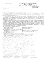 Bộ đề thi tiếng Anh lớp 11 HKII