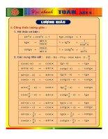 Sổ tay công thức toán học cấp 3 phần lượng giác