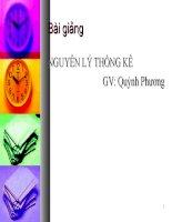 Bài giảng Nguyên lý thống kê Chương 1 - GV. Quỳnh Phương