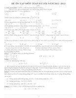 Bộ đề ôn tập cuối năm môn toán 8