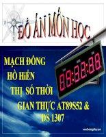 mạch đồng hồ hiển thị số thời gian thực AT89S52 & DS 1307