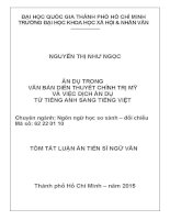 Ẩn dụ trong văn bản diễn thuyết chính trị Mỹ và dịch ẩn dụ từ tiếng Anh sang tiếng Việt