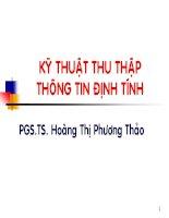 Bài giảng Kỹ thuật thu thập thông tin định lượng - PGS.TS. Hoàng Thị Phương Thảo