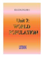 Bài giảng tiếng anh 11- Unit 7. World Population( Listening)