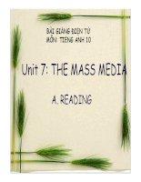 Bài giảng tiếng anh 10- Unit 7. The Mass Media ( Reading)