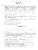 4 đề thi thử Đại học Môn Vật lí và đáp án tham khảo