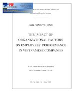 THE IMPACT OF ORGANIZATIONAL FACTORS ON EMPLOYEES' PERFORMANCE IN VIETNAMESE COMPANIES