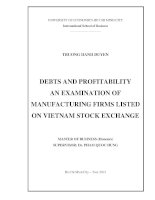DEBTS AND PROFITABILITY AN EXAMINATION OF MANUFACTURING FIRMS LISTED ON VIETNAM STOCK EXCHANGE