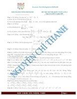 Đề kèm đáp án đề thi thử lần thứ 4 môn toán 2015