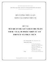Đề cương tiểu luận môn Tài chính - Tiền tệ Mối quan hệ giữa bội chi ngân sách và lạm phát nhìn từ lý thuyết và thực tiễn