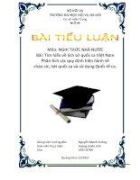 Bài tiểu luận : Tìm hiểu về lịch sử quốc ca Việt Nam Phân tích các quy định hiện hành về chào cờ, hát quốc ca và sử dụng Quốc tế ca
