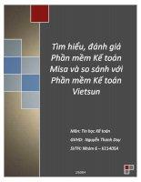 Tiểu luận Tìm hiểu, đánh giá phần mềm kế toán Misa và so sánh với phần mềm kế toán Vietsun