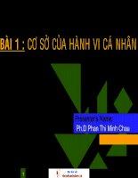 Cơ sở của hành vi cá nhân- Phan Thị Minh Châu
