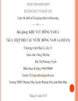 Slide ĐỊA LÍ 11 Bài HIỆP HỘI CÁC NƯỚC ĐÔNG NAM Á (ASEAN)_ N.T Hợi ft Phương tuyến