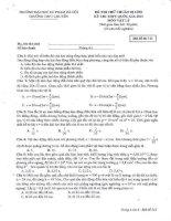 Đề thi thử môn vật lý có đáp án chi tiết