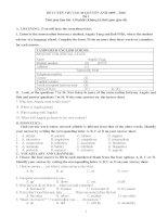 Đề thi và hướng dẫn làm bài môn anh vào lớp 10 tham khảo luyện thi (1)