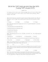 Đề thi thử THPT quốc gia môn hóa năm 2015