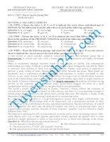 Đề thi thử THPT quốc gia môn Tiếng anh trường THPT Chuyên Nguyễn Quang Diêu năm 2015