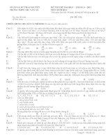 Đề + Đáp án thi thử ĐH môn Sinh CVA-TN lần 2