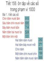 Toán lớp 2 tiết 155 tuần 33 - ôn tập các số trong phạm vi 1000