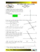 Hệ thống kiến thức cơ bản  Môn : Hình học  Lớp : 7; 8