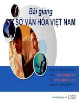 Bài giảng Cơ sở văn hóa Việt Nam Văn hóa và văn hóa dân tộc - GV. Nguyễn Thị Huệ