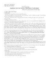 bài thi dạy học theo chủ đề tích hợp: THÔNG TIN VỀ NGÀY TRÁI ĐẤT NĂM 2000