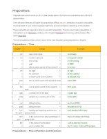Các giới từ trong tiếng anh Prepositions